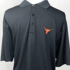 Texas Longhorn polo in black w Longhorn. Size M.